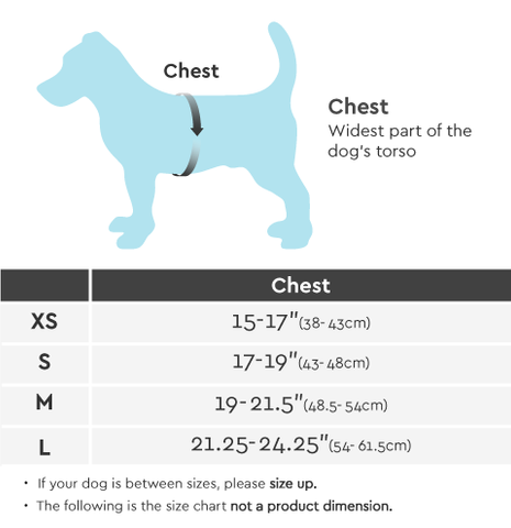 Gooby Escape Free Easy Fit Harness Size Chart