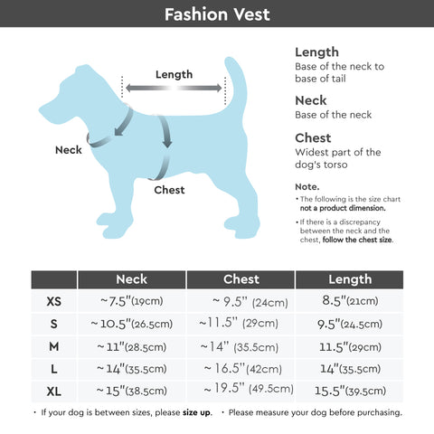 Gooby Fashion Vest Check Size Chart