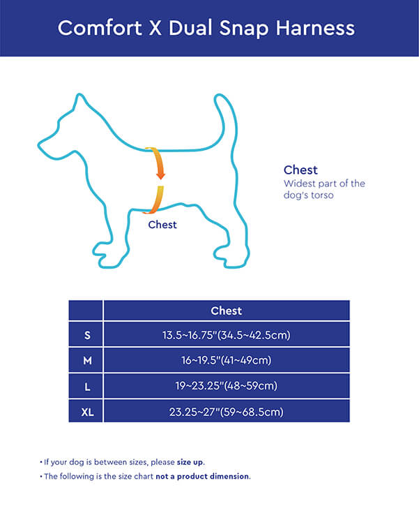 Gooby Comfort X Dual Snap Harness Size Chart
