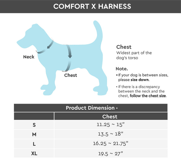 Comfort X Head-In Version Size Chart