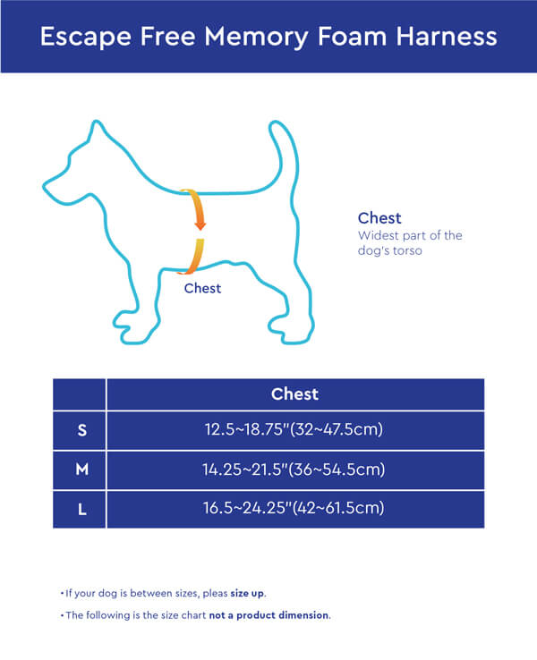 Gooby Escape Free Memory Foam Harness Size Chart