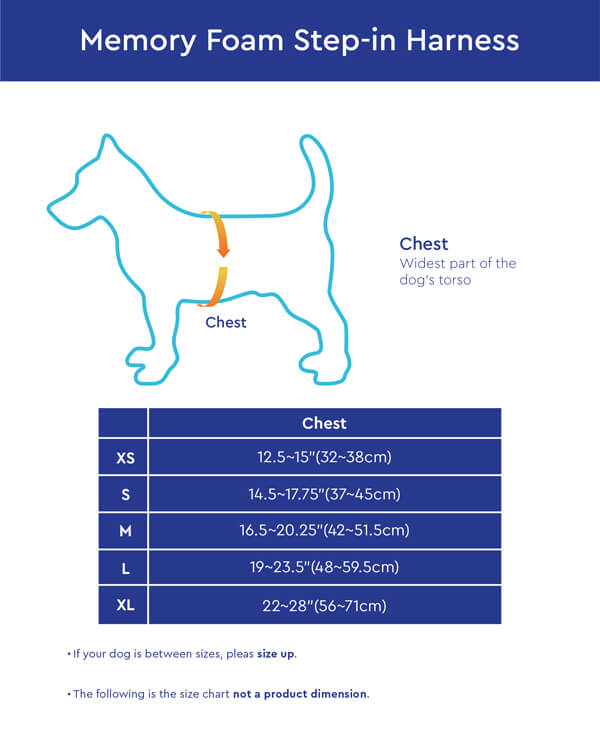 Gooby Memory Foam Step-In Harness Size Chart