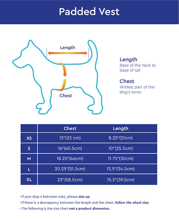 Gooby Padded Vest Size Chart