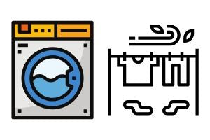 machine wash cold and airdry illustration symbols.