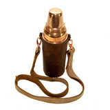Leather Copper Bottle Holder with Coconut Birch Strap