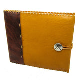 Honey Ginger Leather Guest Book with Nickel Concho