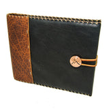 Midnight Espresso Leather Guest Book with Copper Concho