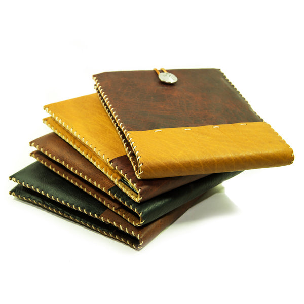 Leather Guest Book with Gold Encrusted Lined Book Pages