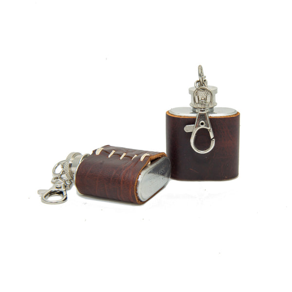 1 oz Mini Stainless Steel Leather Flask