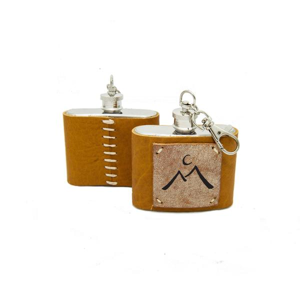 2 oz Mini Stainless Steel Leather Flask