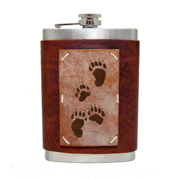 8 oz Themed Leather Flasks