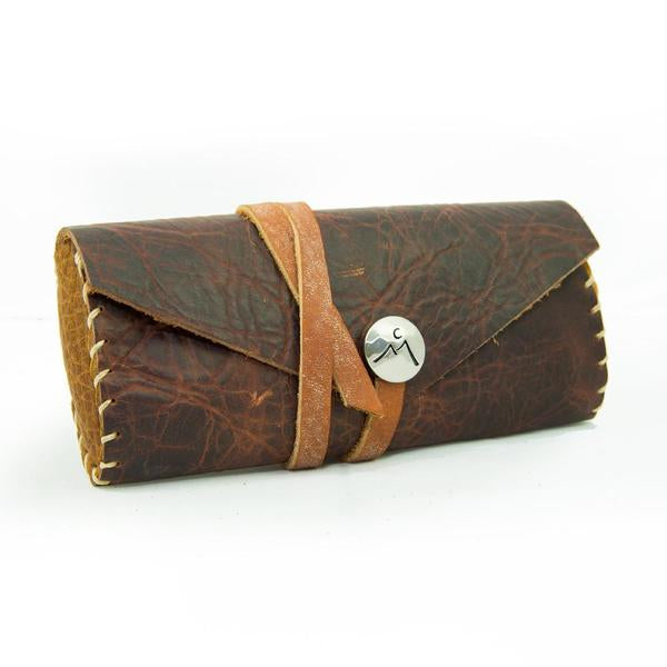 Leather Eyeglass Case with Coconut Birch Strap