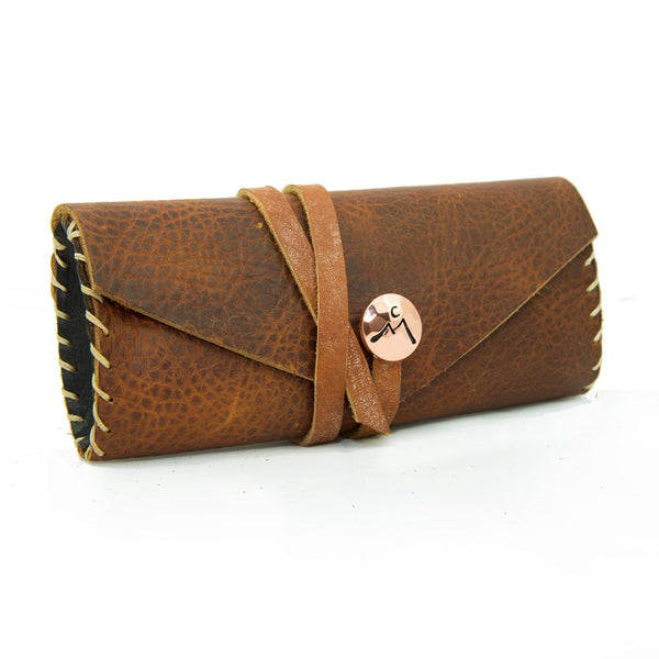 Protective Leather Eyeglass Case with Coconut Birch Strap