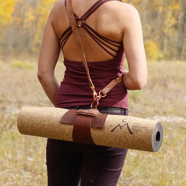 Flexible and Strong Yoga Sling made from Genuine Oil-tanned Bison Leather with Optional Yoloha Cork Yoga Mat
