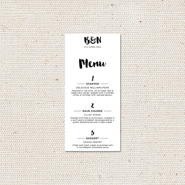 Bella Menu Card
