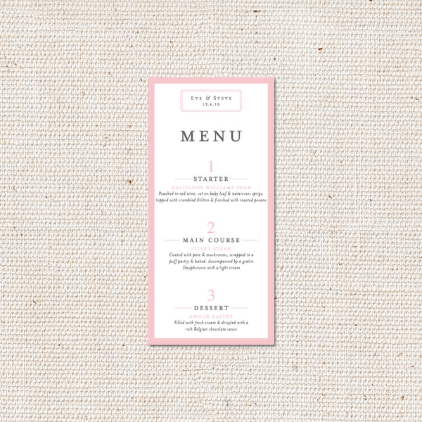 Eve Menu Card