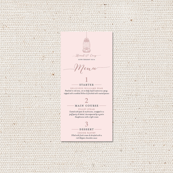 Harriet Menu Card