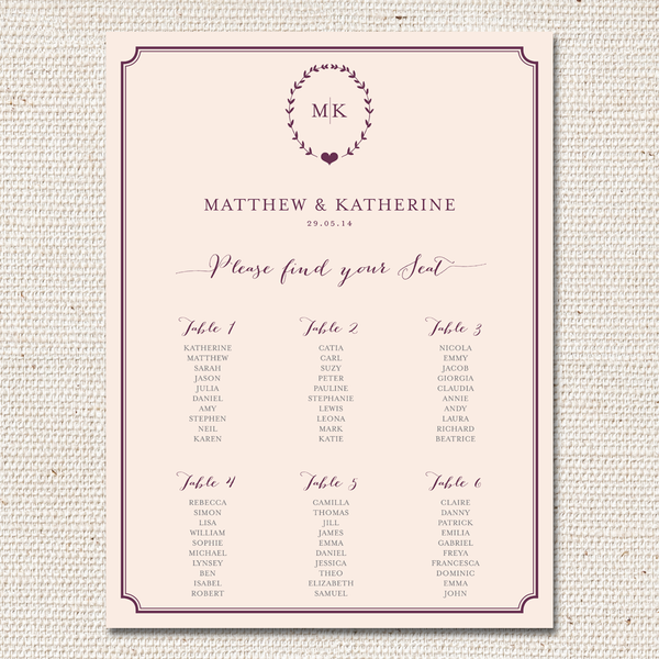 Kate Table Plan