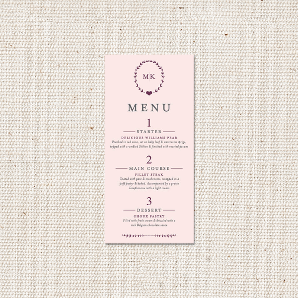 Kate Menu Card