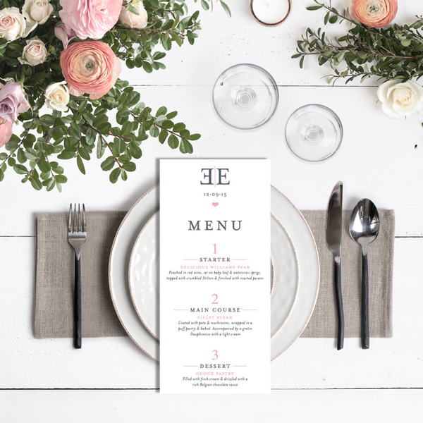 Elizabeth Menu Card
