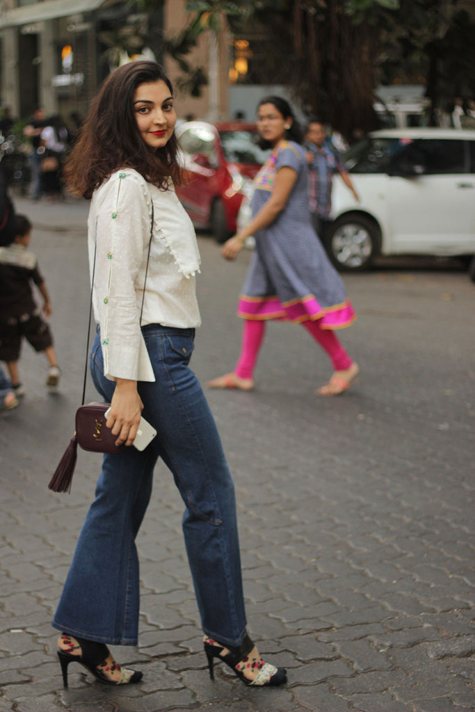 Akanksha Kamath wearing the Ivory Overlay Blouse by JODI
