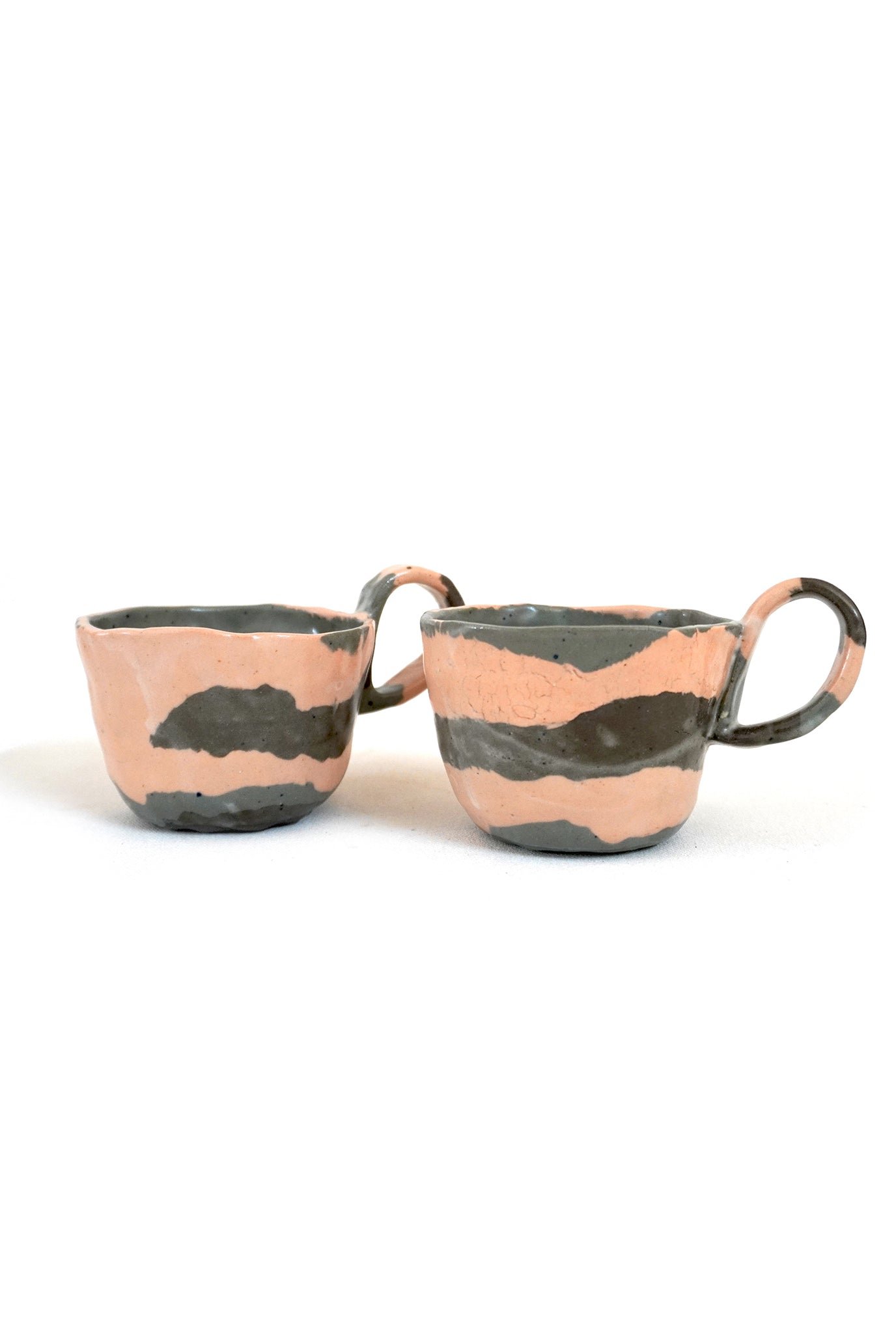 SALMON MARBLED CUPS - SET OF 2