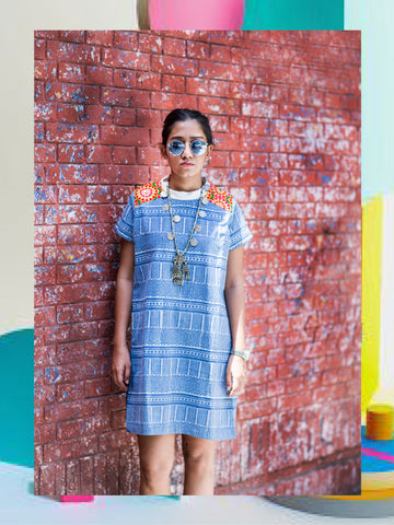 Denim Striped T-Shirt Dress