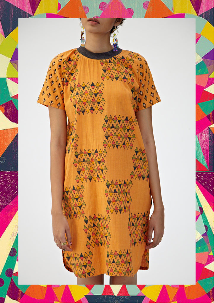 Citrus Orange Diamond T-Shirt Dress