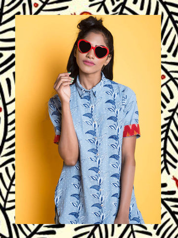Denim High-Low Floral Shirt with Red Ikat