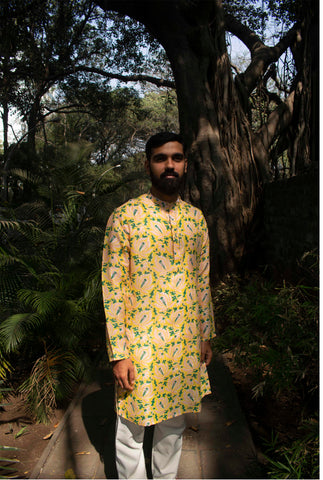 Mulberry silk lotus print kurta