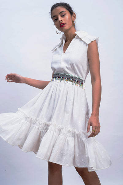 White Origami Ruffled Dress