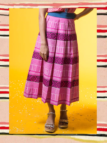 Fuschia Pleated Midi Skirt
