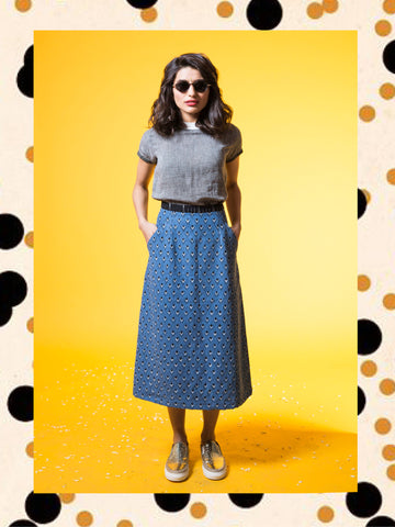 Denim Kite Midi Skirt