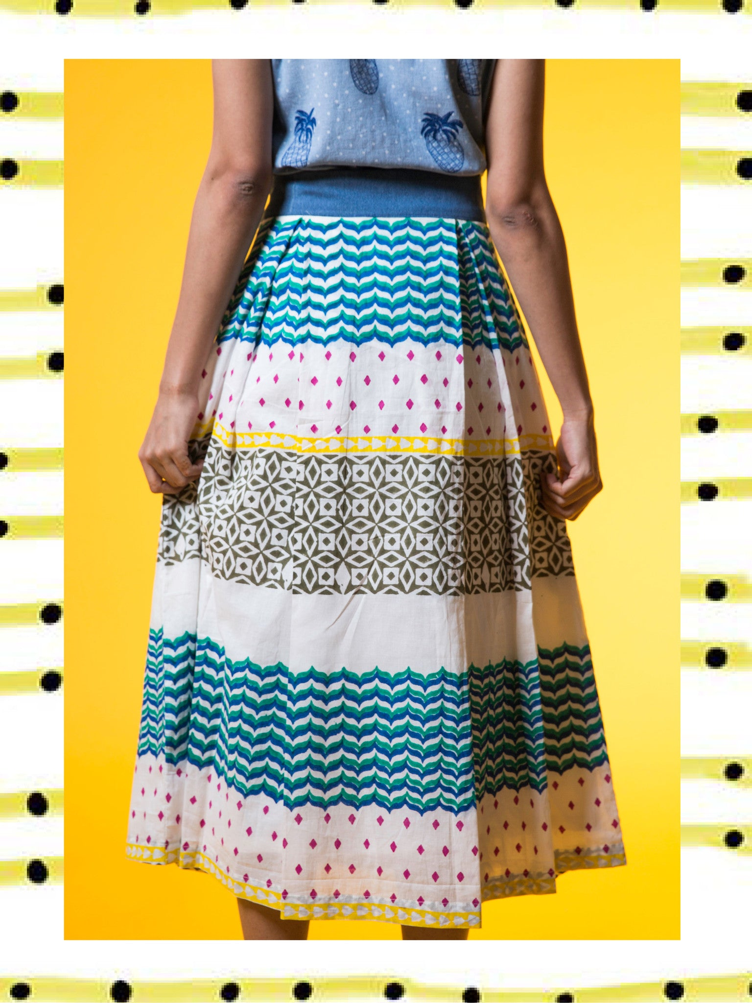 Multi-Pattern Midi Skirt
