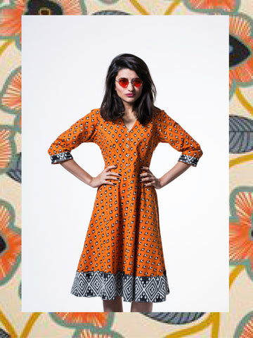 Papaya Orange Kite Flared Dress