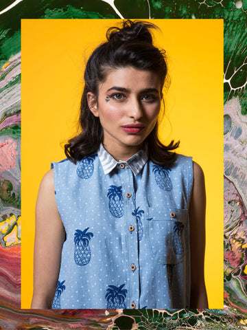 Denim Pineapple Sleeveless Shirt