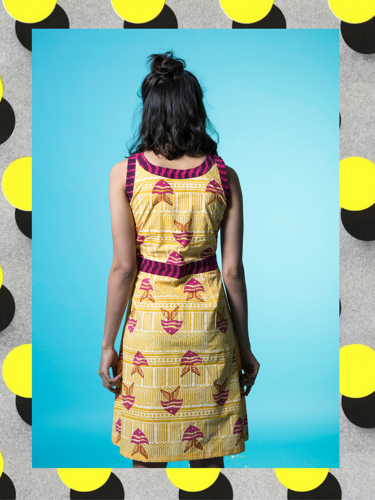 Lemon Yellow Fish Skater Dress