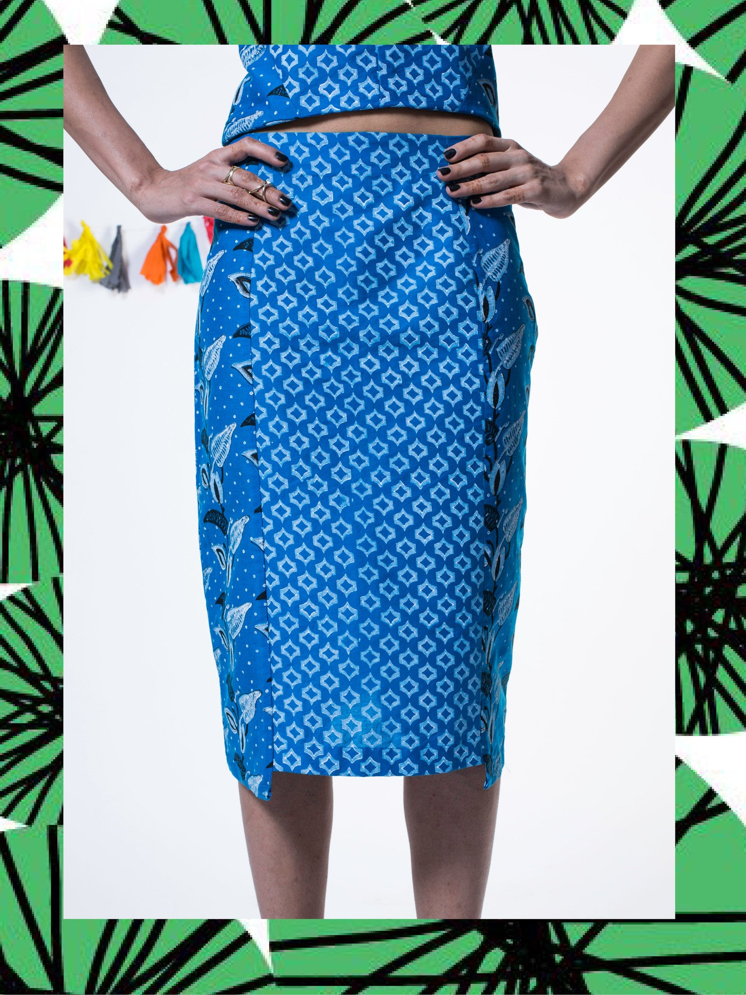 Azure Silk Pencil Skirt