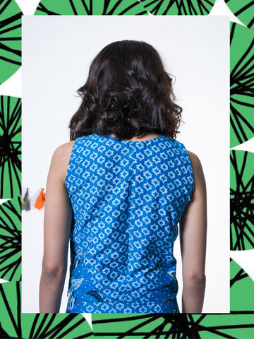 Azure Geometric Floral Top