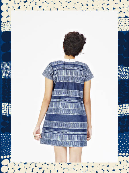 Border Print Denim tunic