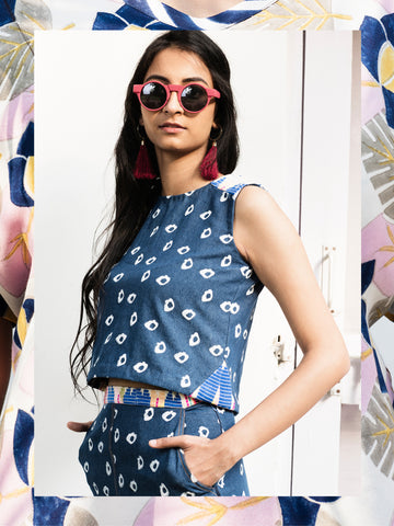 Denim Amoeba Crop Top