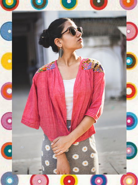 TOWEL JACKET - LOVE RED