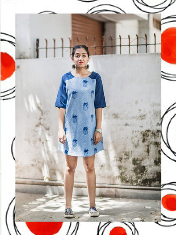 Denim Pineapple Raglan Dress