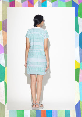 Sky Blue Border T-Shirt Dress
