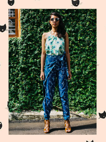 Denim Amoeba Wrap Trousers