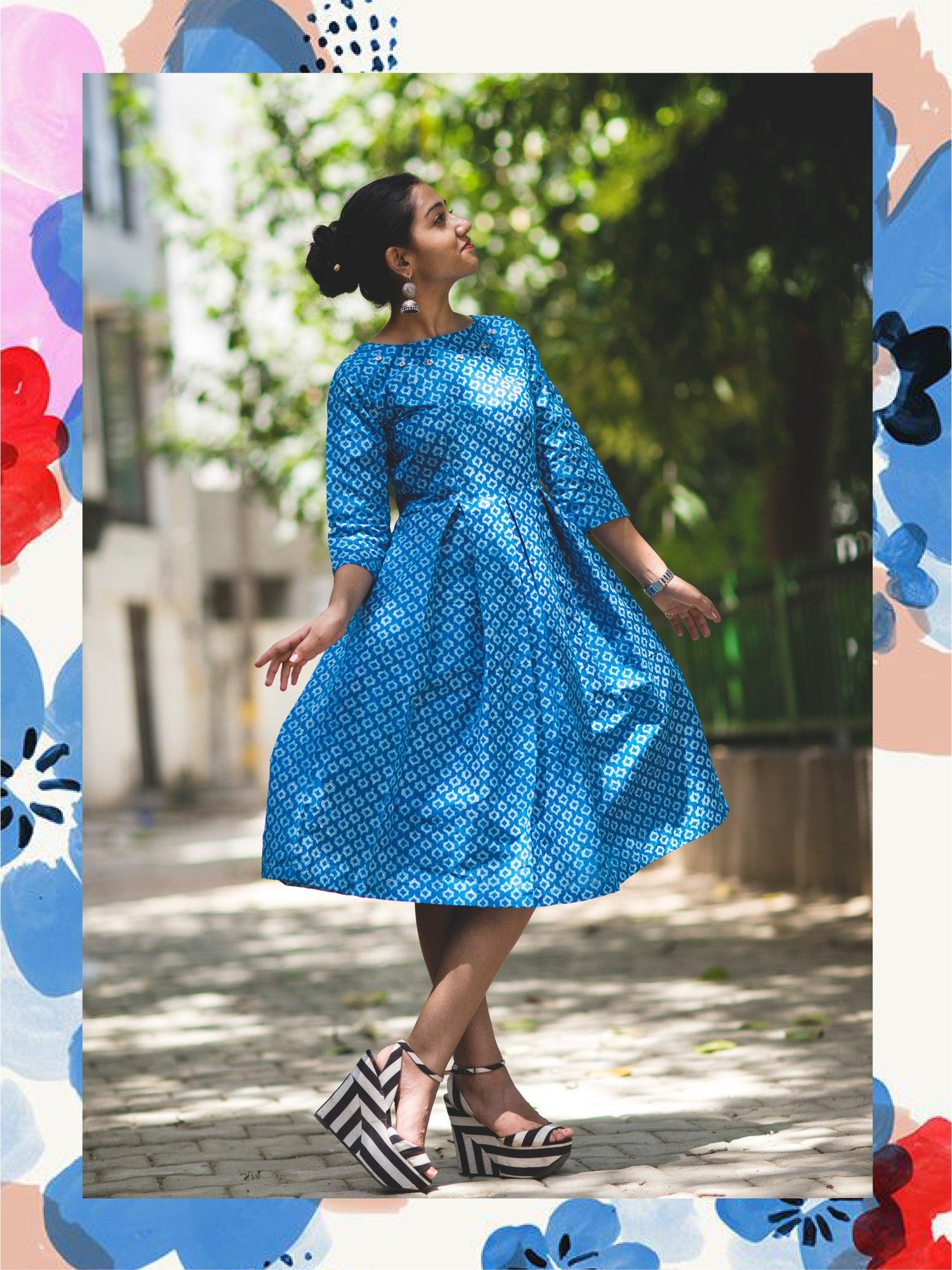 Peacock Blue Pleated Dress