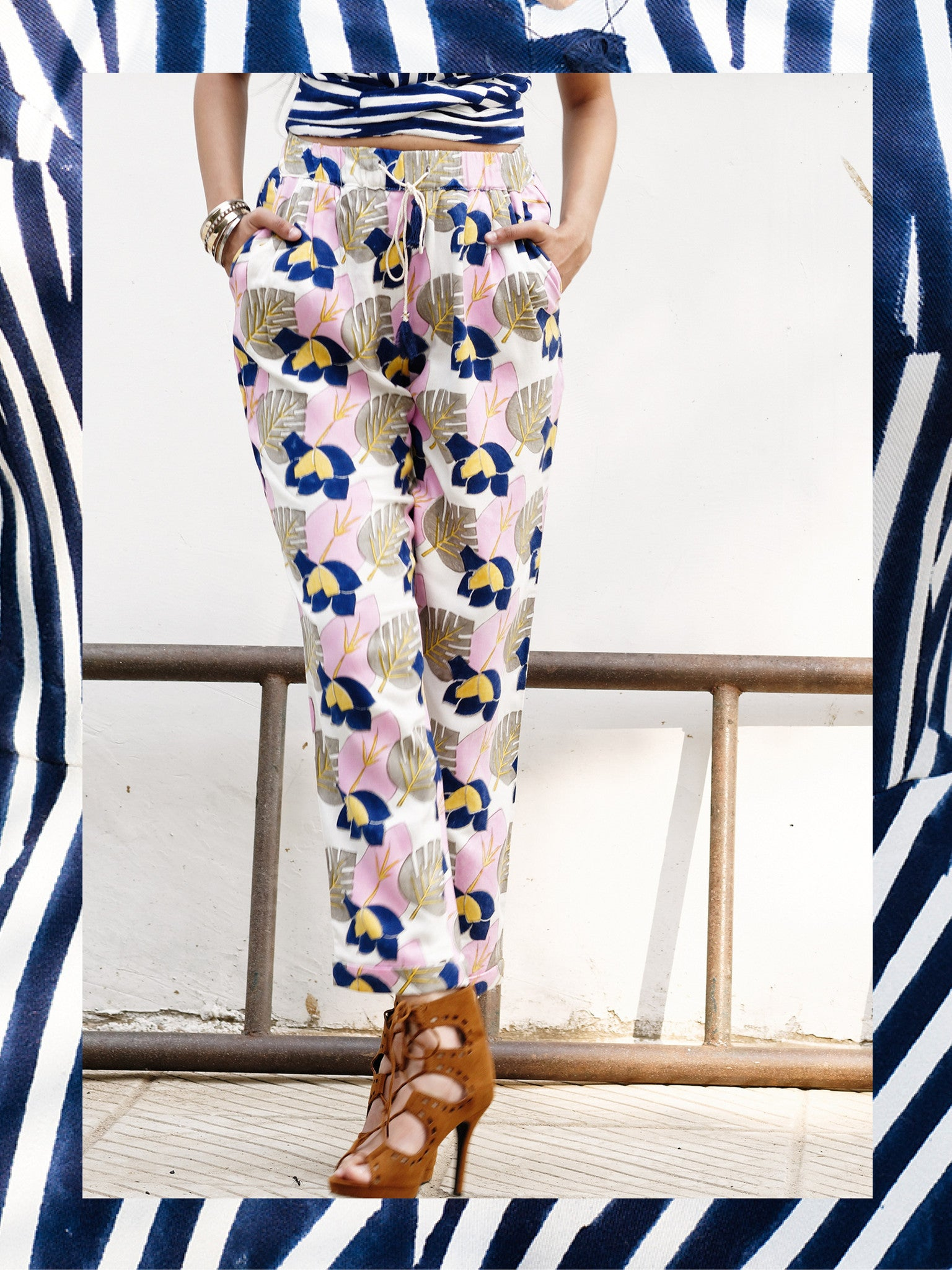 Bougainvillea Drawstring Trousers