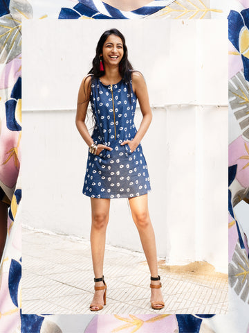 Denim Amoeba A-line Mini Dress