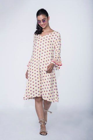 YELLOW  POLKA FLARED SLEEVE BRUNCH DRESS