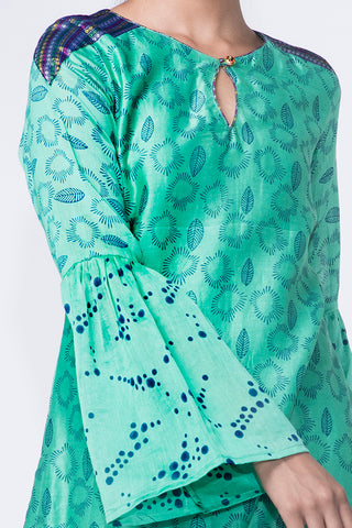 SEA GREEN CHANDERI KURTA